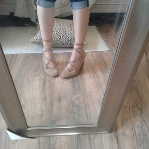 Adrienne Vittadini Suede Lace up Wedges